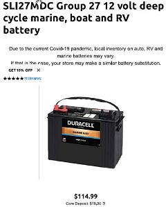 Click image for larger version  Name:Duracell SLI27MDC Group 27 12 volt deep cycle.jpg Views:45 Size:39.8 KB ID:28907